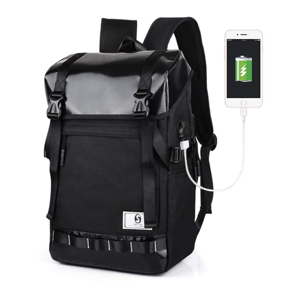 f81e2eef3723 Laptop Travel Backpack, USB Charging Port & Waterproof PVC Top Business  Outdoor Hiking Camping Canvas Bag, Anti Theft Black College School Daypack  ...