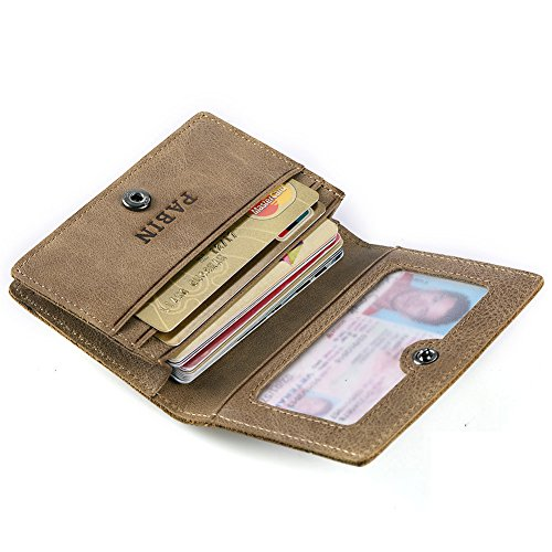 RFID Blocking Credit Card Holder Leather ID Case for Men Pabin (Vintage Khaki) (Gift Card Holder Wallet Vintage)
