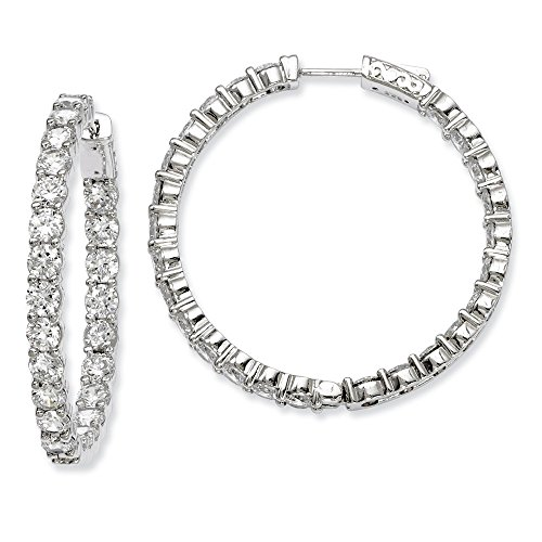 Sterling Silver Rhodium-plated CZ In and Out Hinged Hoop Earrings by CoutureJewelers