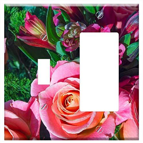 (1-Toggle 1-Rocker/GFCI Combination Wall Plate Cover - Bouquet Roses Alstroemeria Beautiful)