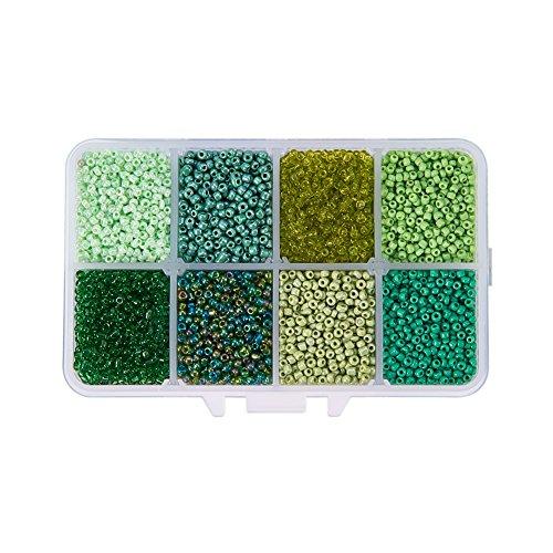 Pandahall 1 Box (About 8000pcs) 12/0 Mixed Green Round Glass Seed Beads, 2mm