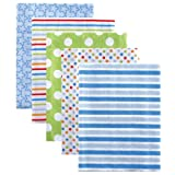 Luvable Friends Flannel Receiving Blankets, Blue, 5 Pack