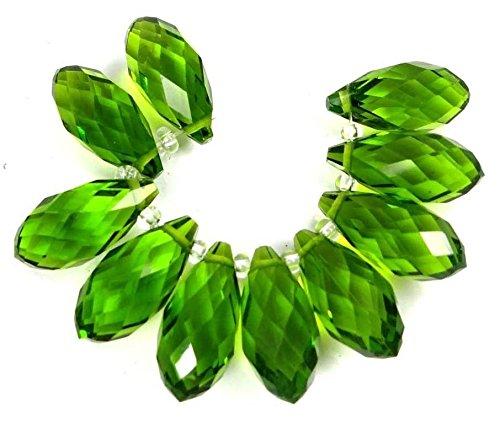 Faceted Peridot Drops - 20x9mm Peridot Green Glass Quart Faceted Teardrop Beads (10)