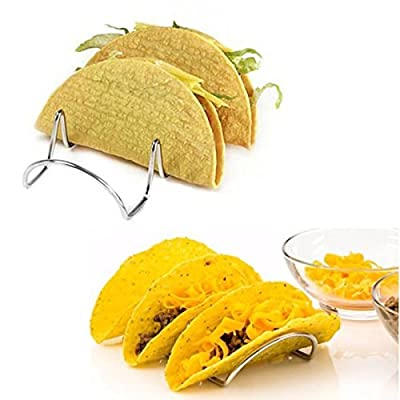 Stainless Steel Taco Holder, Taco Shell Serving Stand -Taco Racks Hold 3 Tacos Each.