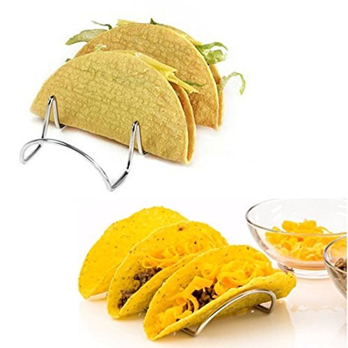 Stainless Steel Taco Holder, Taco Shell Serving Stand -Taco Racks Hold 3 Tacos Each. (Hello Kitty Fruit Arrangement)