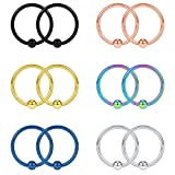 SCERRING 16G 12mm Captive Bead Piercing Ring Stainless Steel Nose Septum Tragus Nipple