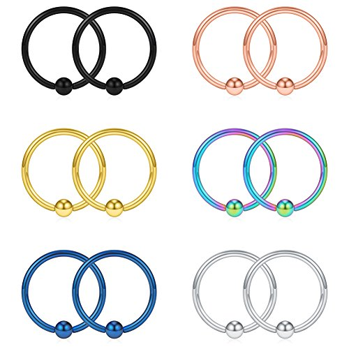 SCERRING 16G 12mm Captive Bead Piercing Ring Stainless Steel Nose Septum Tragus Nipple Lip Eyebrow Hoop Rings 12PCS (Mix Color)