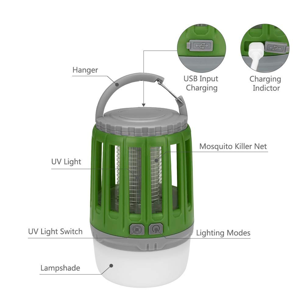 2 in 1 Electronic Insect Killer IPX4 Waterproof and USB Rechargeable Bug Zapper Light for Indoor and Outdoor Emergency Situations Bosunny Mosquito Killer Camping Mosquito Tent Light