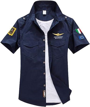 Camisa de Hombre Camiseta de Manga Corta de Bolsillo de Manga Corta Militar Color Puro para Hombre Camisas Casual de Manga Corta Bordado Militar Shirts Tops Azul Oscuro L: Amazon.es: Ropa y