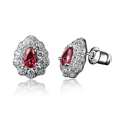 Cubic zirconia Stud Earrings For Women - Teardrop Earrings 18K Rhodium Plated Simulated Diamond, Best Wife Gifts And Daily Use