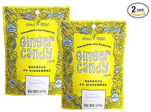 LEMON Ginger Candy Chews (2-Pack)- (2) Gem Gem 5oz Bags - All-Natural, Non-GMO, Gluten Free, Vegan, Real Indonesian Kettle Cooked Ginger | The perfect chewy sweet with a kick!