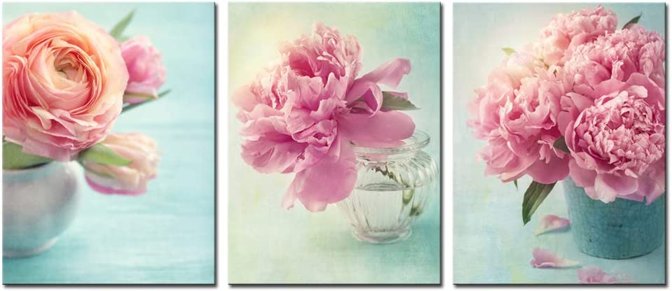 Nachic Wall 3 Piece Floral Pictures Canvas Artwork Prints Pink Rose Flower in Vase Pictures Wall Art on Wrapped Canvas Vintage Bathroom Bedroom Teal Decor Gallery Canvas Wrapped Ready to Hang