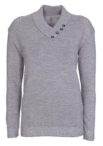 Jersey de punto de manga larga para mujer, cuello con botones, talla grande gris