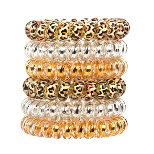 Glam Band Hair Tie Rings - Traceless Elastic Ponytail Holder & Bracelet - No Crease, No Tangle Plastic Spiral - Ouchless, Creaseless Telephone Wire Coil - Pack of 6 (Glam Bands)