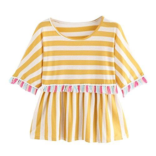 TJ Mall ベストセラー女性のファッションタッセルストライプTシャツプリントシャツエレガントな気質の半袖Tシャツトップ