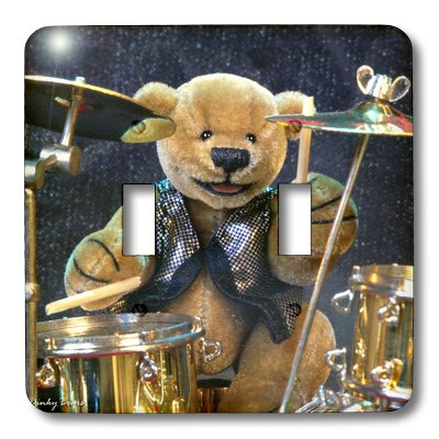3dRose lsp_12636_2 Dinky Bears Drummer Double Toggle Switch ()