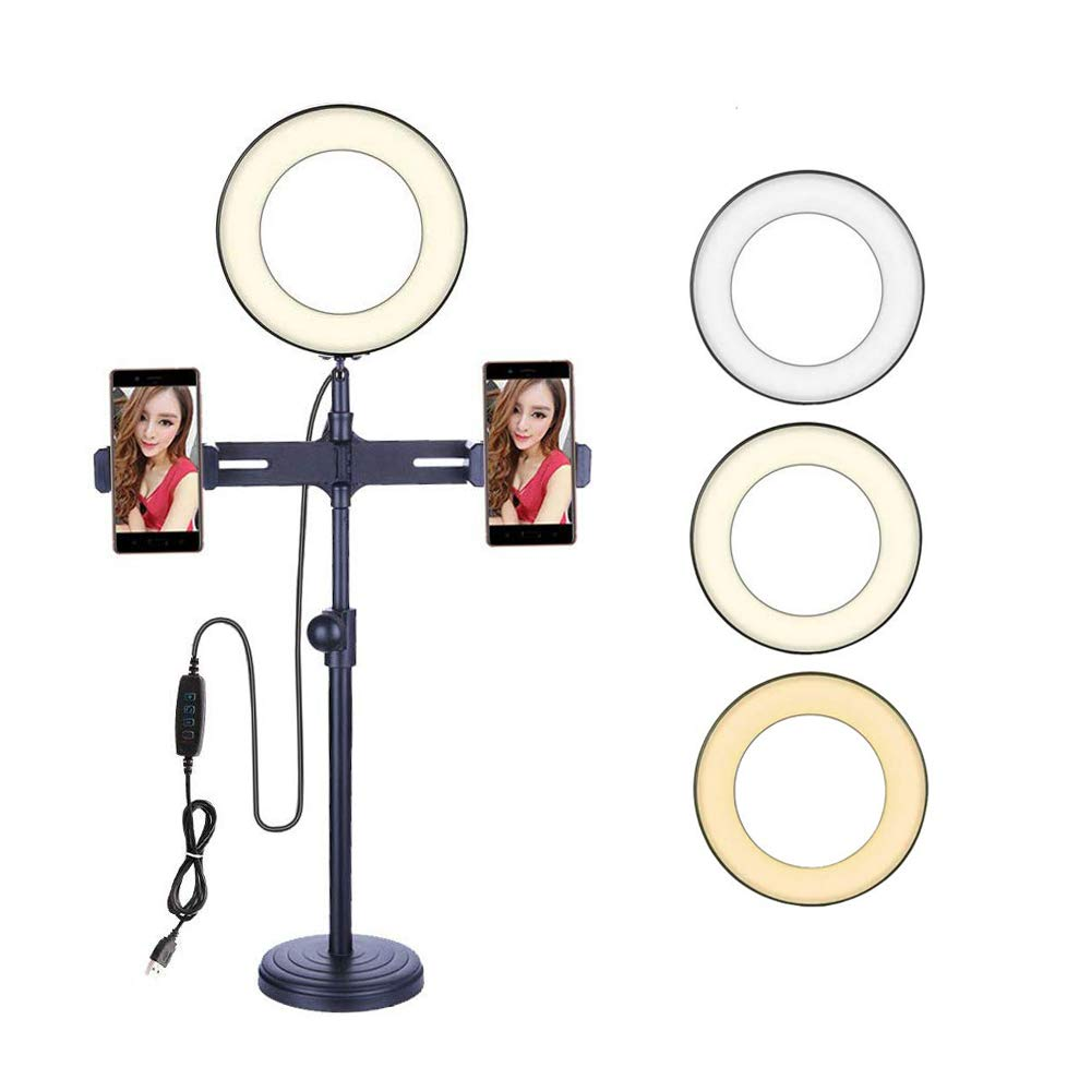 6'' Selfie Ring Light, Rcligent Desktop Ring Light with Stand & Phone Holder LED Dimmable Beauty Ring Light for Makeup/Live Stream