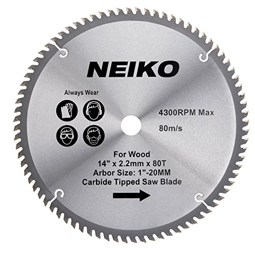 - Neiko 10769A 14-Inch 80-Tooth Circular Miter Saw Blade with Carbide Tips, Heavy Duty for Metal & Wood