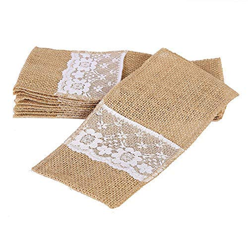 OZXCHIXU TM 100 Pack Natural Burlap Cutlery Holder Pouch Bag 4x8.5 Inch with Lace Silverware Napkin Holders Wedding Party Bridal Shower Table Setting Table Decoration by OZXCHIXU (Image #3)