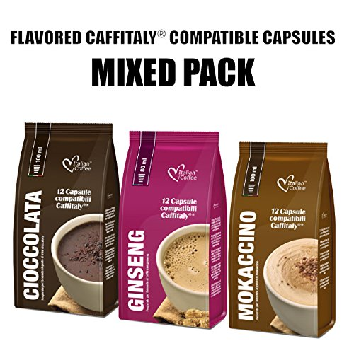 Compatible Systems (36 Flavored drinks mixed pods compatible with Caffitaly system)