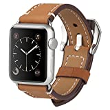 Apple Watch Band, ADOKEY 38MM iWatch Band Premium Crazy Horse Genuine Leather Wrist Strap with Stainless Metal Adapter Clasp Replacement for Apple Watch Sport Edition Series 1 2 Sport&Edition-Brown