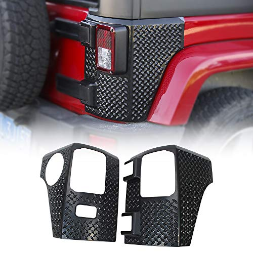 JeCar Rear Corner Armor ABS Tail Light Guard for 2007-2018 Jeep Wrangler JK & Unlimited Sports Rubicon Sahara, Black
