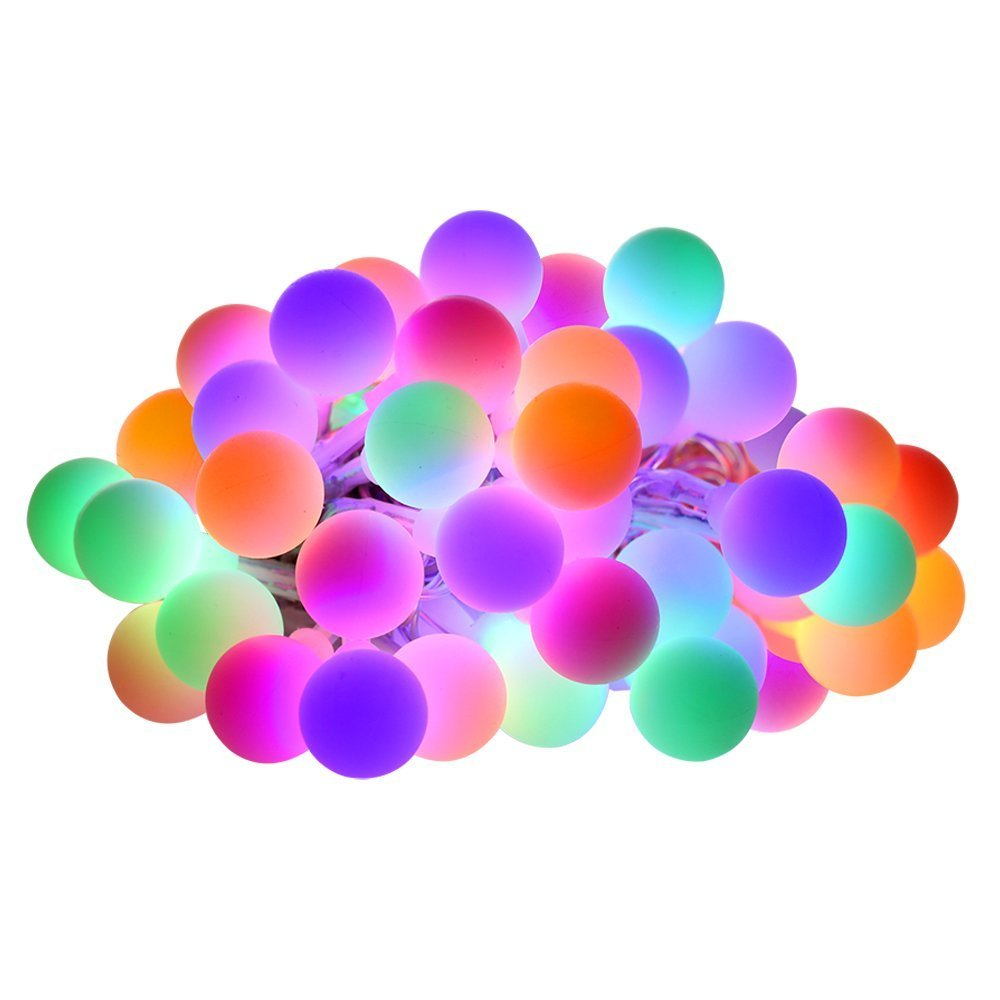 Warmwei/ß Solar Ball Lichterkette,KINGCOO 23ft 50LEDs Globe Stimmungslichter Solar Schnur Lichter Weihnachtsbeleuchtung Kugel Lichter f/ür Innen Au/ßen Haushalt Garten Beleuchtung