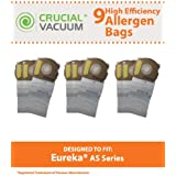 9 Allergen-rated Paper Vacuum Bags for Eureka AS Series Vacuums; Compare to Eureka Part Nos. 66655, 68155-6, 68155, 67726; Designed & Engineered by Think Crucial