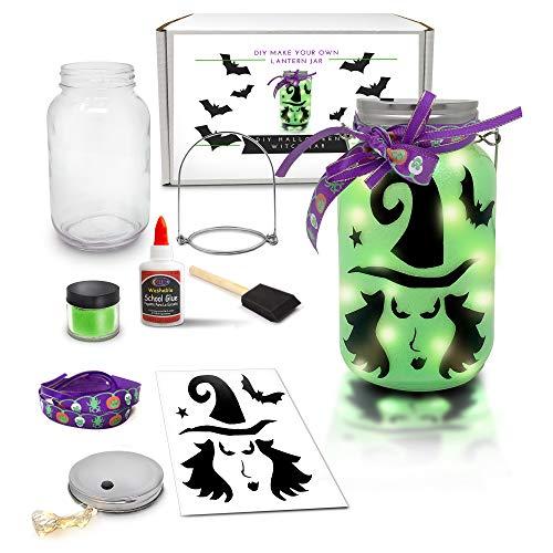 Mason Jars Halloween Crafts (Mason Jar Lantern Craft Kit - DIY Make Your Own Lantern Jar - Craft Project for Kids - Great Gift)