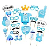 zhongjiany 25 PCS Photo Booth Props Baby Shower New Born Boy Party Photography Supplies Kit (Blue)
