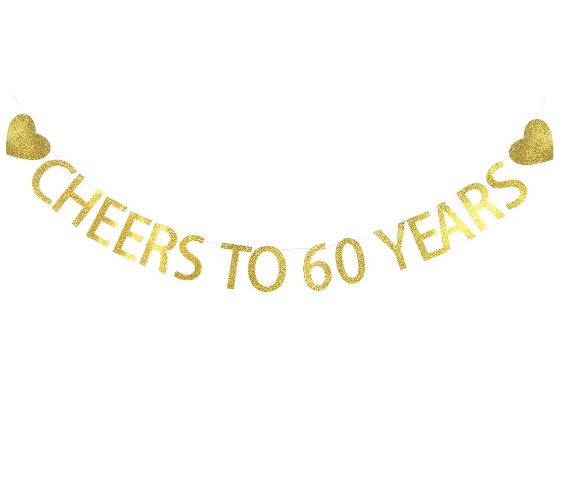 Lovely BITON Gold Cheers to 60 Years Banner Decoration Kit Themed Party Banner for Birthday Wedding Showers Photo Props Window Decor