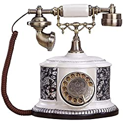 LNDDP Vintage Telephone, Retro Style Button Dialing Wired Telephone Antique Traditional Ringtone Classic Metal Clock