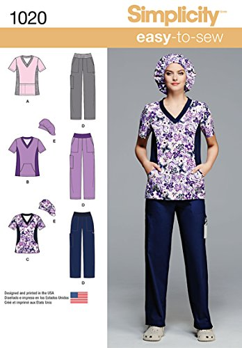 Hat Sewing Top Pattern - Simplicity Easy To Sew Scrubs Sewing Pattern For Women, Sizes 10-18