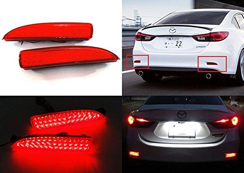 2x Red Lens Rear Bumper Reflector LED Fog Tail Stop Brake Light DRL For Mazda6 Atenza 2013-up Mazda3 Saloon RZG