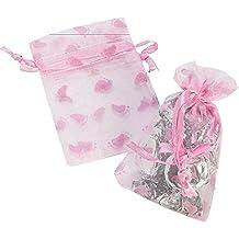 Lot of 24 Pink Baby Girl Shower Footprint Organza Drawstring Favor Bags