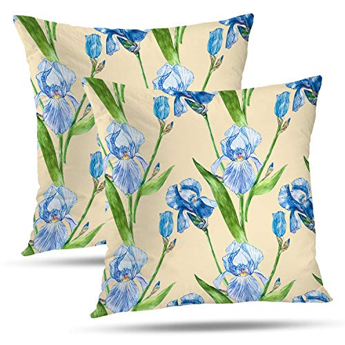 (Batmerry Spring Pillows Decorative Throw Pillow Covers 18x18 Inch Set of 2, Blue Flower with Iris Hand Draw Watercolor Green Double Sided Square Pillow Cases Pillowcase Sofa Cushion)
