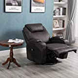 Massage Recliner Chair, 360 Degree Swivel and Heated Recliner Leather Sofa Chair with 8 Vibration Motors,Brown