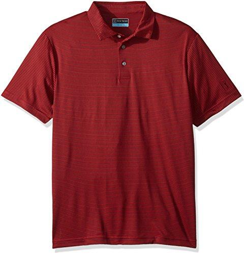9732d897dd PGA TOUR Men's Short Sleeve Feeder Stripe Polo, Chili Pepper/Caviar, ...