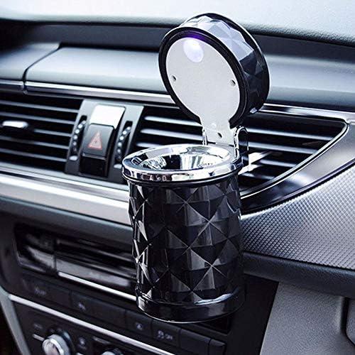 ACHICOO 車灰皿 灰皿 ポータブル LEDライト カー灰皿 ユニバーサル タバコシリンダー ホルダー カーアクセサリー ブラック