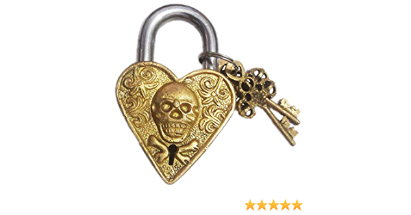 Candados de lat/ón con dos llaves Parijat dise/ño de calavera grabada en oro