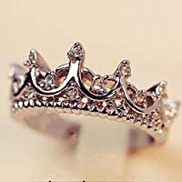 wanmanee Fashion Princess Women Silver Rhinestone Crown Ring Size 5 6 7 8 New (8)