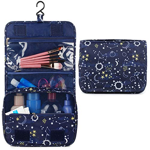Hanging Travel Toiletry Bag Cosmetic Make up Organizer for Women and Girls Waterproof (Sun Moon Star)