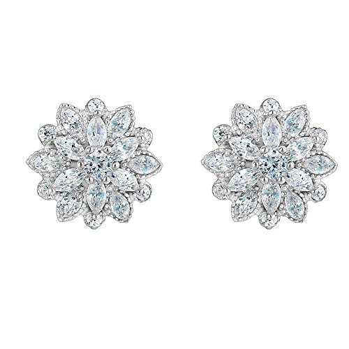 - EleQueen 925 Sterling Silver Full Cubic Zirconia Bridal Flower Stud Earrings 15mm Clear.