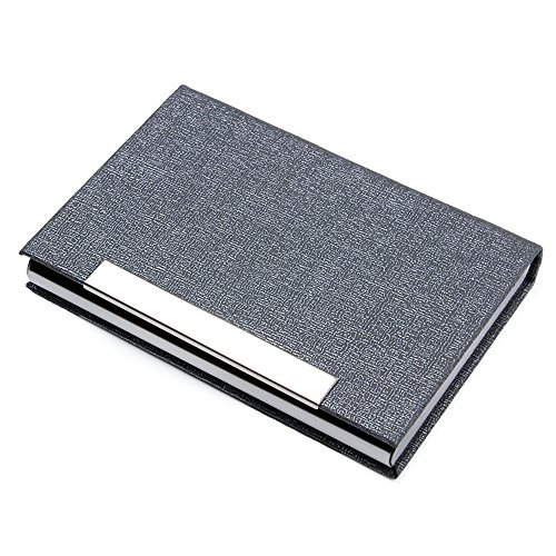 JBBERTH Business Card Holder Stainless Steel Business Card Case Professional Name Card Holder Metal Business Cards Organizer with Magnetic Shut -Silver Grey -