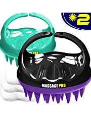 Scalp Massager, 2 Pack Scalp Brush Hair Shampoo Brush Head Scrubber [ 2020 Upgraded Version ] 100% Comfortable for All Hair Types of Curly Girls, Women, Wife, Girlfriend, Daughter, Men, Kids, Pets