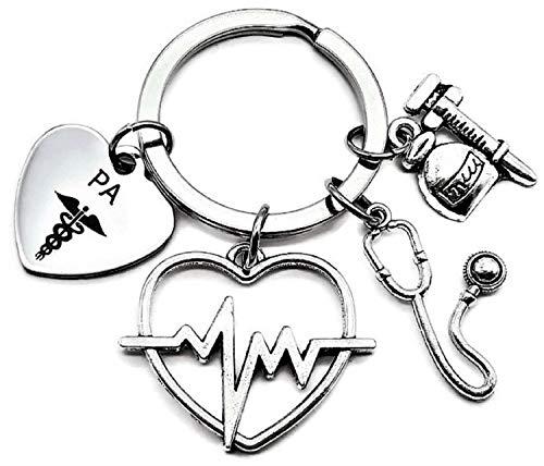 PA Physicians Assistant Keychain, PA Keychain, Physicians Assistant Gift, Stethoscope, Syringe, ECG, EKG Heartbeat Charm, Doctor, Nurse Keychain, PA Caduceus Keychain, Physician Assistant Key Ring