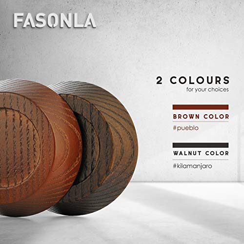 "FASONLA Furniture Risers, Solid Natural Wood Risers for 4 Bed Risers, Furniture Risers, Table Risers, Sofa/Chair Risers- Add Height with Non-Slip Recessed Hole to Heavy Furniture (Walnut Color, 0.8"")"