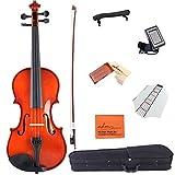ADM 1/2 Half Size Handcrafted Solid Wood Student Acoustic Violin Starter Kits(Hard Case, Rosin, Shoulder Rest, Tuner, Violin Bow, Fingerboard Sticker), Red Brown