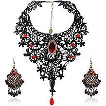 Eternity J. Elegant Vintage Black Lace Victorian Lolita Gothic Pendant Choker Necklace Earrings Set