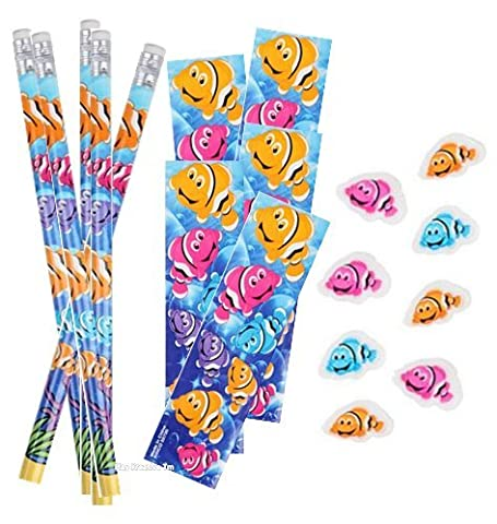 Clownfish Stickers, Pencil and Erasers Stationery Set - Play Kreative TM (CLOWNFISH) - Fish Eraser